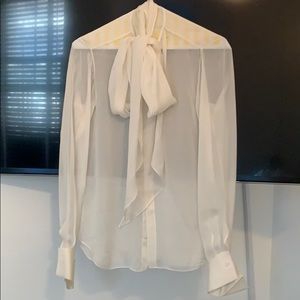 Ralph Lauren sheer creme pussy bow blouse